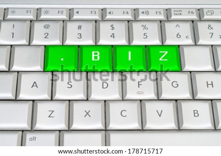 Internet top level domain .biz dot biz spelled on metallic keyboard - stock photo