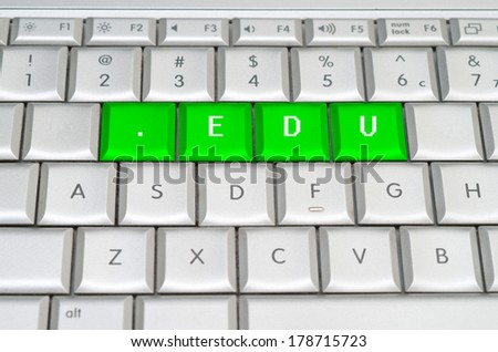 Internet top level domain .edu dot edu spelled on metallic keyboard - stock photo