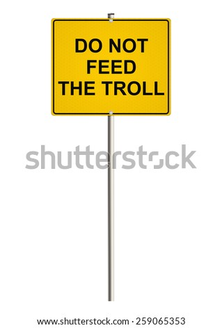 Internet trolling. Road sign. Raster. - stock photo