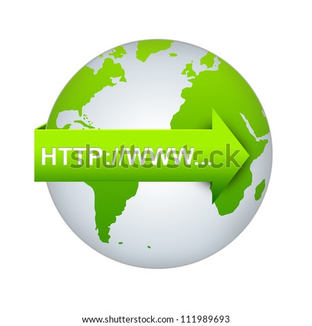 Internet URL Concept, Green Internet URL Arrow On The World Isolated on White Background - stock photo