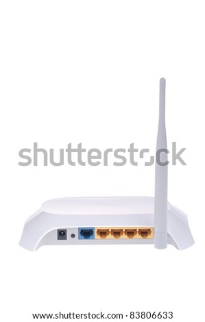 Internet wireless router isolated on white background - stock photo