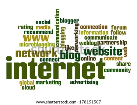 Internet word cloud - stock photo