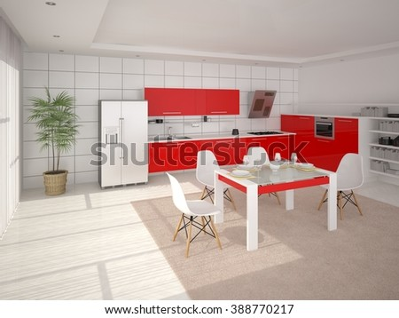 Internr kitchen with modern furniture, 3d rendering. - stock photo