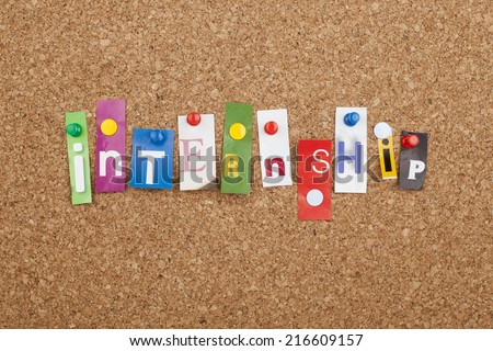 Internship Cut out Letters - stock photo
