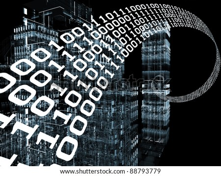Interplay of abstract building structures and numbers stream on the subject of modern digital technologies and business - stock photo