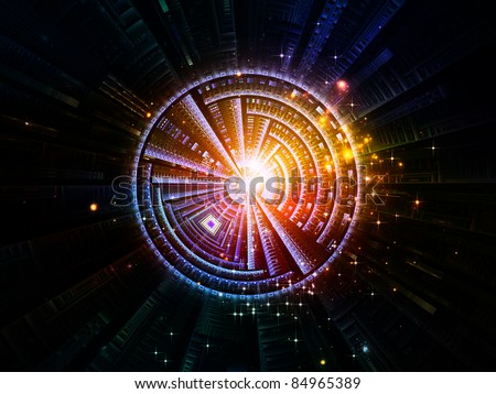 Interplay of abstract lights and circular forms on the subject of modern technology, virtual reality and science - stock photo