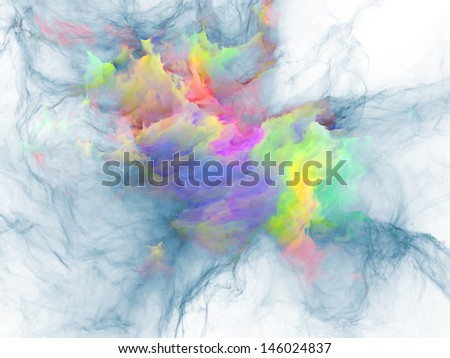 Interplay of bursting strands of fractal smoke and paint on the subject of design, science, technology and creativity - stock photo