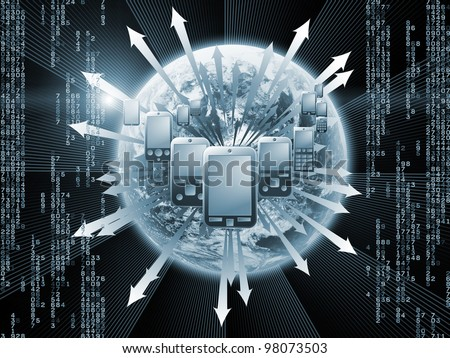 Interplay of cellular phones, Earth globe, numbers,  lights and abstract elements on the subject of global communications, connectivity and mobile gadgets - stock photo