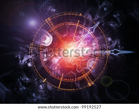 Interplay of clock hands, gears, lights and abstract design elements on the subject of time sensitive issues, deadlines, scheduling, temporal processes, past, present and future - stock photo
