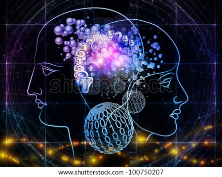 Interplay of human head outlines, lights, numbers and abstract design  elements on the subject of modern technology, digital revolution, scientific thinking, science and technology related issues - stock photo
