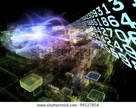 Interplay of number trail, abstract rectangular units, colors and light on the subject of cloud computing, data storage and modern technologies - stock photo
