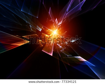 Interplay of particles in motion on the subject of motion, speed, dynamism, progress, activity and modern technologies - stock photo