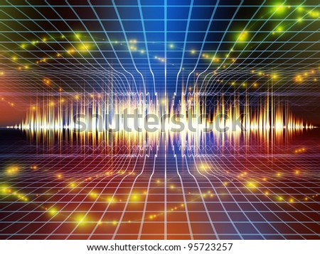 Interplay of perspective lines, sound wave, notes and various design elements on the subject of music, audio and sound technology - stock photo