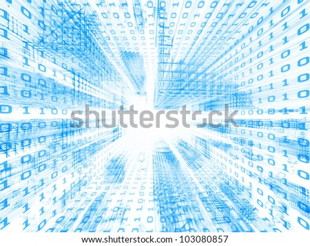 Interplay of structural lines and digits in deep perspective suitable as business or information technology background - stock photo
