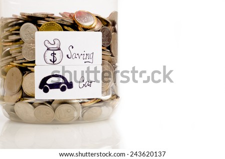 Interpretation of saving and car saving concept by using coin in the jar  - stock photo