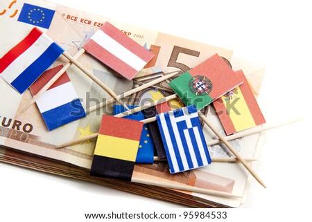 Interpretation of the world wide economical crisis on a white background - stock photo