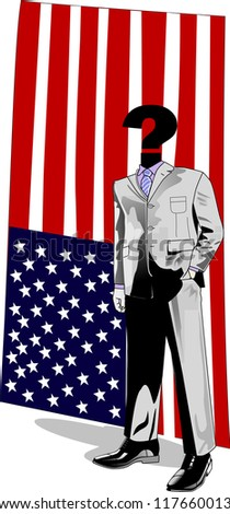 Interrogation mark man in suit embodies the next president of USA. - stock photo