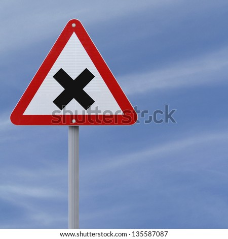 Intersection ahead road sign - stock photo