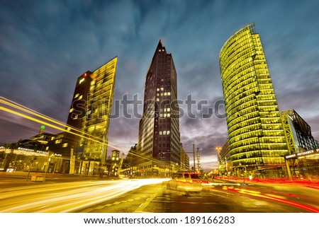 intersection in front of the Potsdamer Platz in the city center of Berlin, Germany - stock photo
