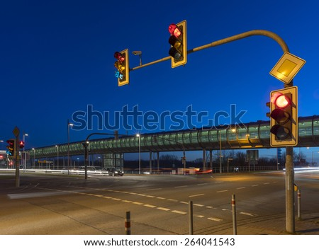 Intersection with the traffic light in Hannover - stock photo