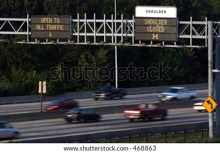 Interstate and signs - stock photo