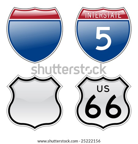 Interstate and US Route 66 signs with glossy effect - stock photo
