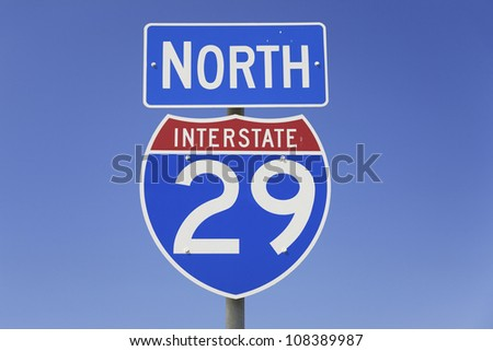 Interstate highway 29 North road sign - stock photo