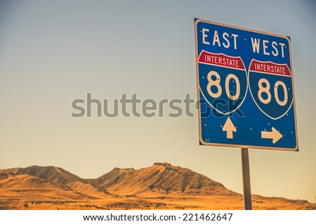 Interstate I-80 Nevada American Highway Sign. Travel Theme. - stock photo