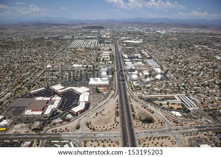Interstate 17 in Phoenix, Arizona viewed from above looking north from Bell Road - stock photo
