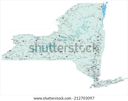 Interstate Map of New York State, United States of America. Raster JPG. - stock photo