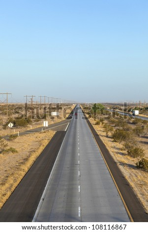 Interstate No. 8 in Arizona in the morning - stock photo