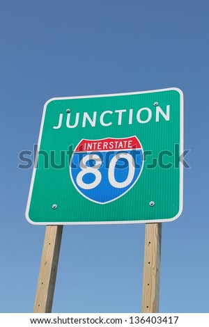 Interstate 80 Sign - stock photo