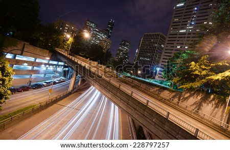 Interstate 5 Travels Underneath Roads Parks Buildings Seattle Washington USA - stock photo
