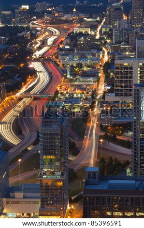 Interstate 85 winds through downtown Atlanta, Georgia, USA. - stock photo