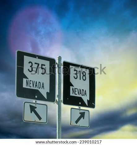 Interstates signs in Nevada, USA. - stock photo