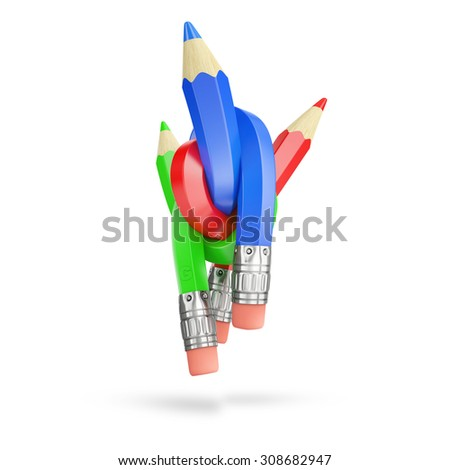 intertwined colour pencils isolated on white background - stock photo