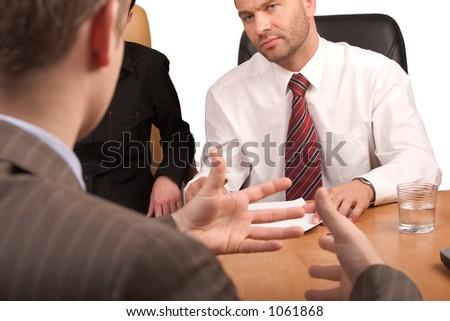 interview, business conversation - stock photo