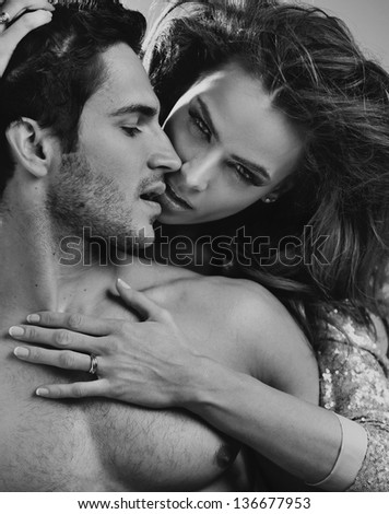 Intimacy of a loving couple - stock photo