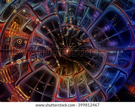 Into Infinity series. Backdrop of  fractal patterns, curves and symbols to complement your design on the subject of math, technology, science and education - stock photo
