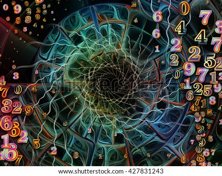 Into Infinity series. Visually pleasing composition of fractal patterns, curves and symbols to serve as  background in works on math, technology, science and education - stock photo