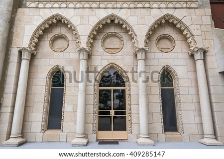 Intricate architectural details of doorways at Hearst Castle, California. - stock photo