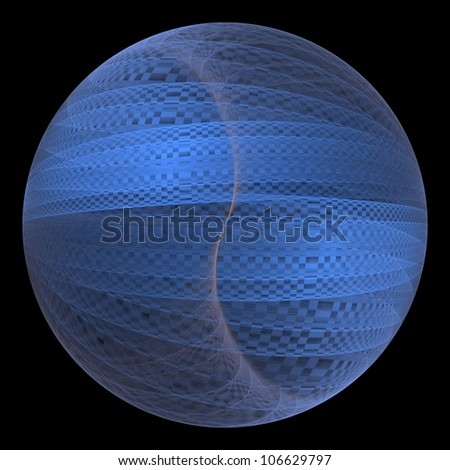 Intricate blue checkered / gauze sphere on black background - stock photo