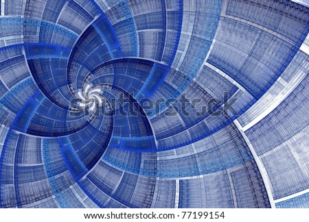 Intricate blue flower / star of David fractal on white background - stock photo