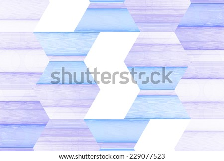Intricate blue / gold / silver string hexagon design on white background  - stock photo