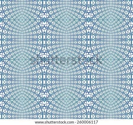 Intricate blue / green and teal abstract woven design on white background (tile able)  - stock photo