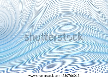Intricate blue / green string wave design on white background  - stock photo