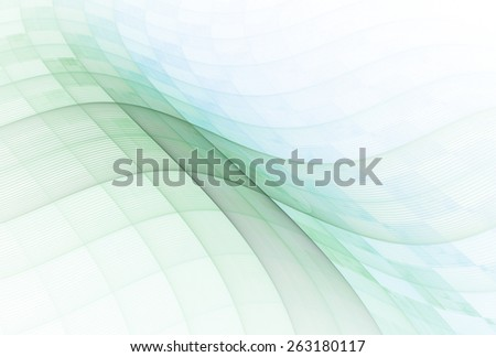 Intricate blue / green / teal abstract checkered wave design on white background - stock photo