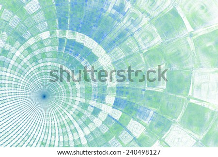 Intricate blue / green / teal abstract ripple / disc design on white background  - stock photo