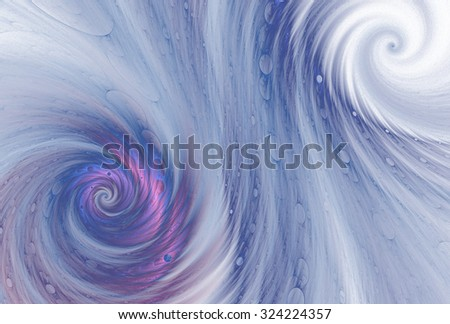 Intricate blue / pink abstract spiral vortex on white background  - stock photo