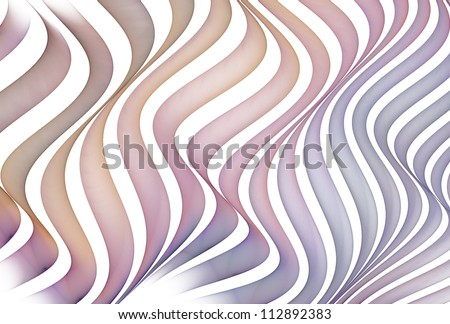 Intricate blue, pink and orange abstract flowing ribbons / ripples on white background background - stock photo